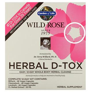 Garden of Life, Wild Rose Herbal D-Tox, 12-Day Kit, 4 Piece Kit