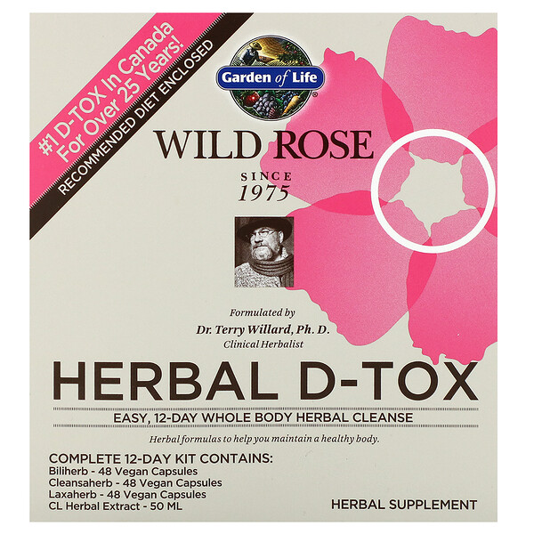 Wild Rose Herbal D-Tox, 12-Day Kit, 4 Piece Kit