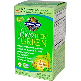 Garden of Life,  FucoThin Green، به 90 كبسولة نباتية