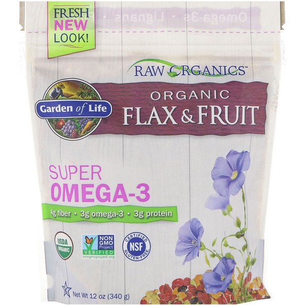 Garden of Life, Organic Flax & Fruit, Super Omega-3, 12 oz (340 g) (Discontinued Item)