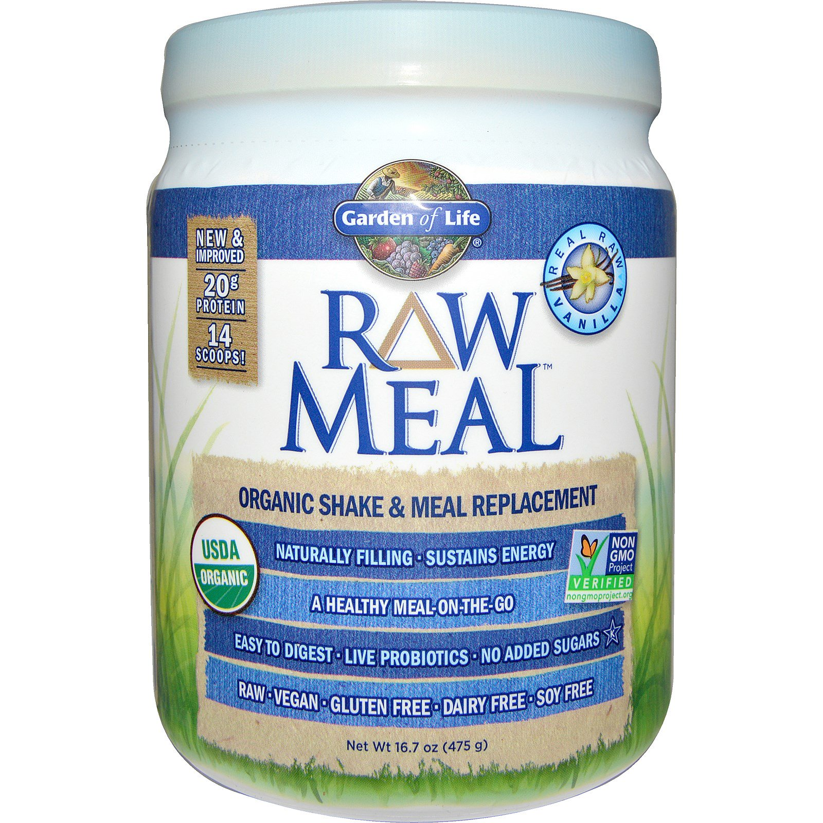 Garden Of Life Raw Meal Organic Shake Meal Replacement Vanilla 16 7 Oz 475 G