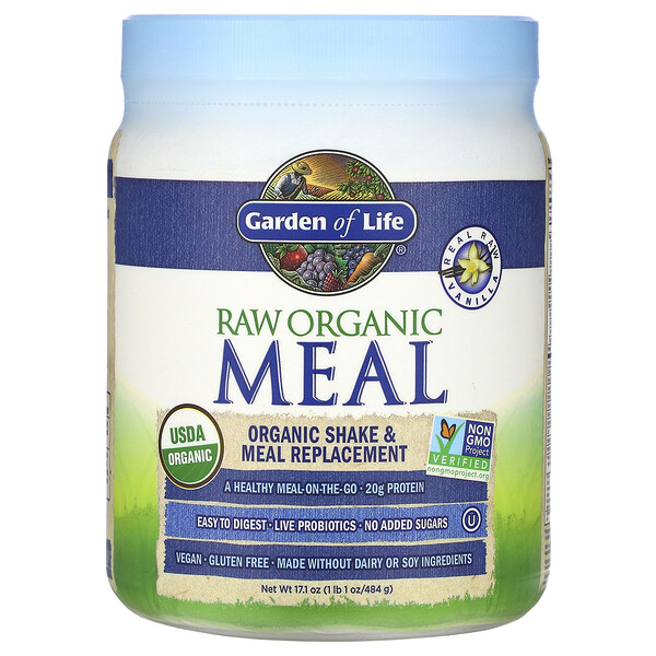 RAW Organic Meal, Shake & Meal Replacement, Vanilla, 17.1 oz (484 g)