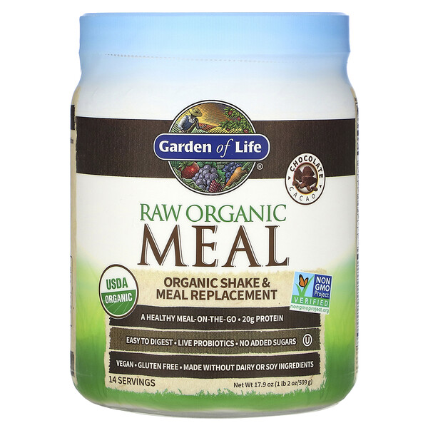 RAW Organic Meal, Shake & Meal Replacement, Chocolate Cacao, 1 lb 2 oz (509 g)
