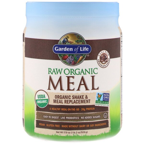 RAW Organic Meal, Shake & Meal Replacement, Chocolate Cacao, 17.9 oz (509 g)