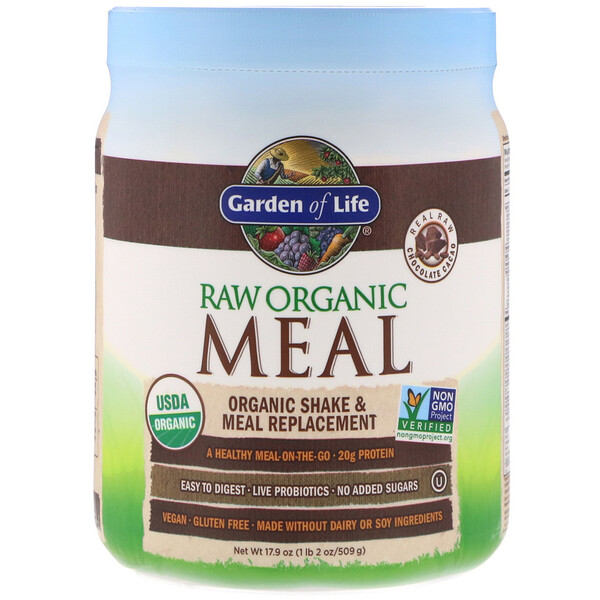 Garden of Life, RAW Organic Meal, Organic Shake & Meal Replacement, Chocolate Cacao, 1.1 lbs (509 g)