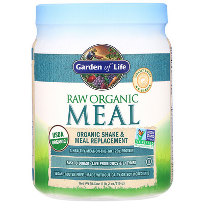 Сырая органическая еда, органический коктейль и замена еды, слегка сладкий вкус, 454 г (16 унций)
