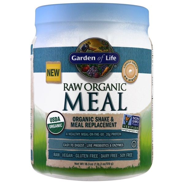 Garden of Life, RAW Organic Meal, Organic Shake & Meal Replacement, Lightly Sweet, 16 oz (454 g)