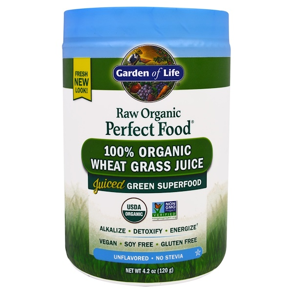 Garden of Life, Raw Organic Perfect Food, 100% Organic Wheat Grass Juice, Unflavored, 4.2 oz (120 g)