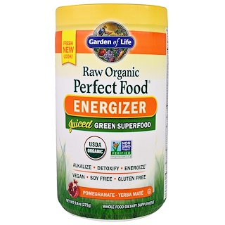 Garden of Life, Raw Organic Perfect Food, Energizer, Pomegranate - Yerba Mate, 9.8 oz (279 g)