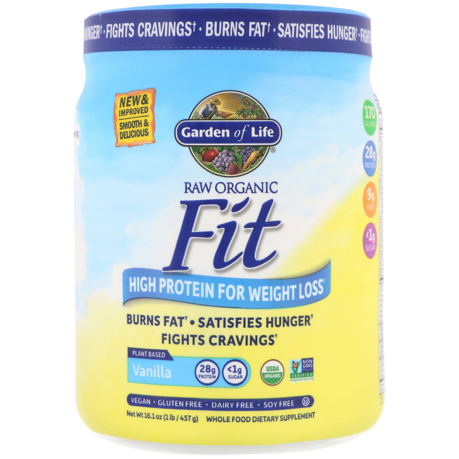 Garden Of Life Raw Organic Fit High Protein For Weight Loss Vanilla 16 1 Oz 457 G Iherb