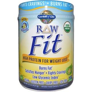 Garden of Life, RAW Fit, alto contenido de proteínas para bajar de peso, vainilla, 15 oz (420 g)