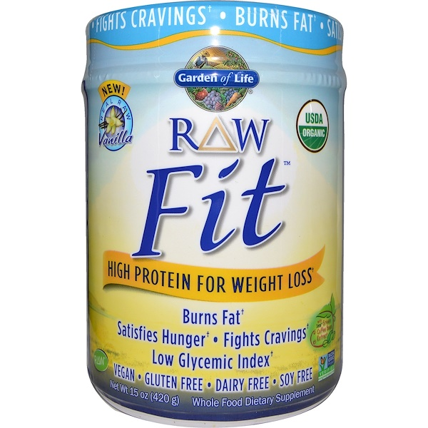 Garden of Life, RAW Organic Fit, High Protein for Weight Loss, Vanilla, 15 oz (420 g)