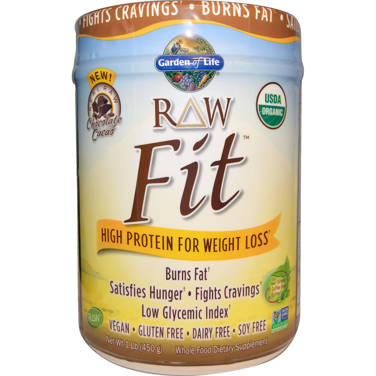 Garden Of Life Raw Organic Fit High Protein For Weight Loss Chocolate Cacao 1 Lb 450 G