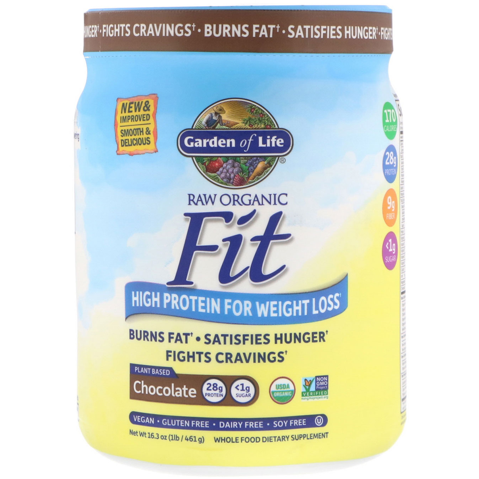 Garden Of Life Organic Raw Fit High Protein For Weight Loss Chocolate 16 3 Oz 461 G