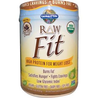 Garden of Life, RAW Fit orgánico, alta proteína para pérdida de peso, cacao de chocolate, 1 lb (450 g)