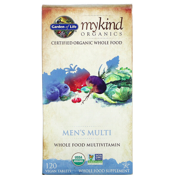 MyKind Organics, мультивитамины для мужчин, цельный мультивитамин, 120 растительных таблеток