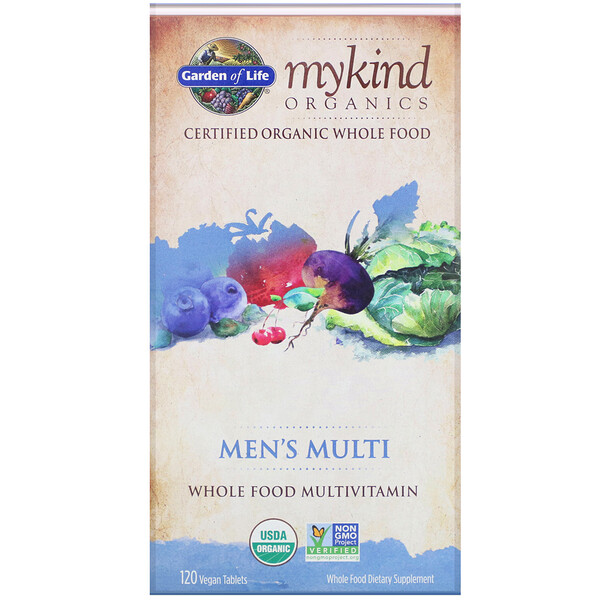 Garden of Life, MyKind Organics, Men's Multi, Whole Food Multivitamin, 120 Vegan Tablets