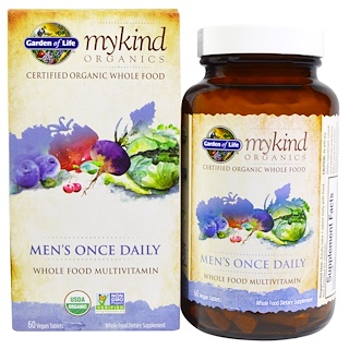 Garden of Life, MyKind Organics, Men's Once Daily, Whole Food Multivitamin, 60 Vegan Tablets