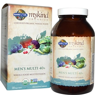 Garden of Life, KIND Organics, Men's Multi 40+, 120 веганских таблеток