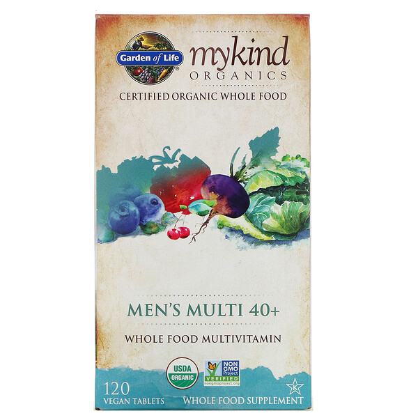 Garden of Life, KIND Organics, Men's Multi 40+, 120 Tabletas Veganas