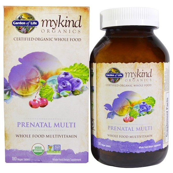 Garden of Life, MyKind Organics, Prenatal Multi, Whole Food Multivitamin, 180 Vegan Tablets