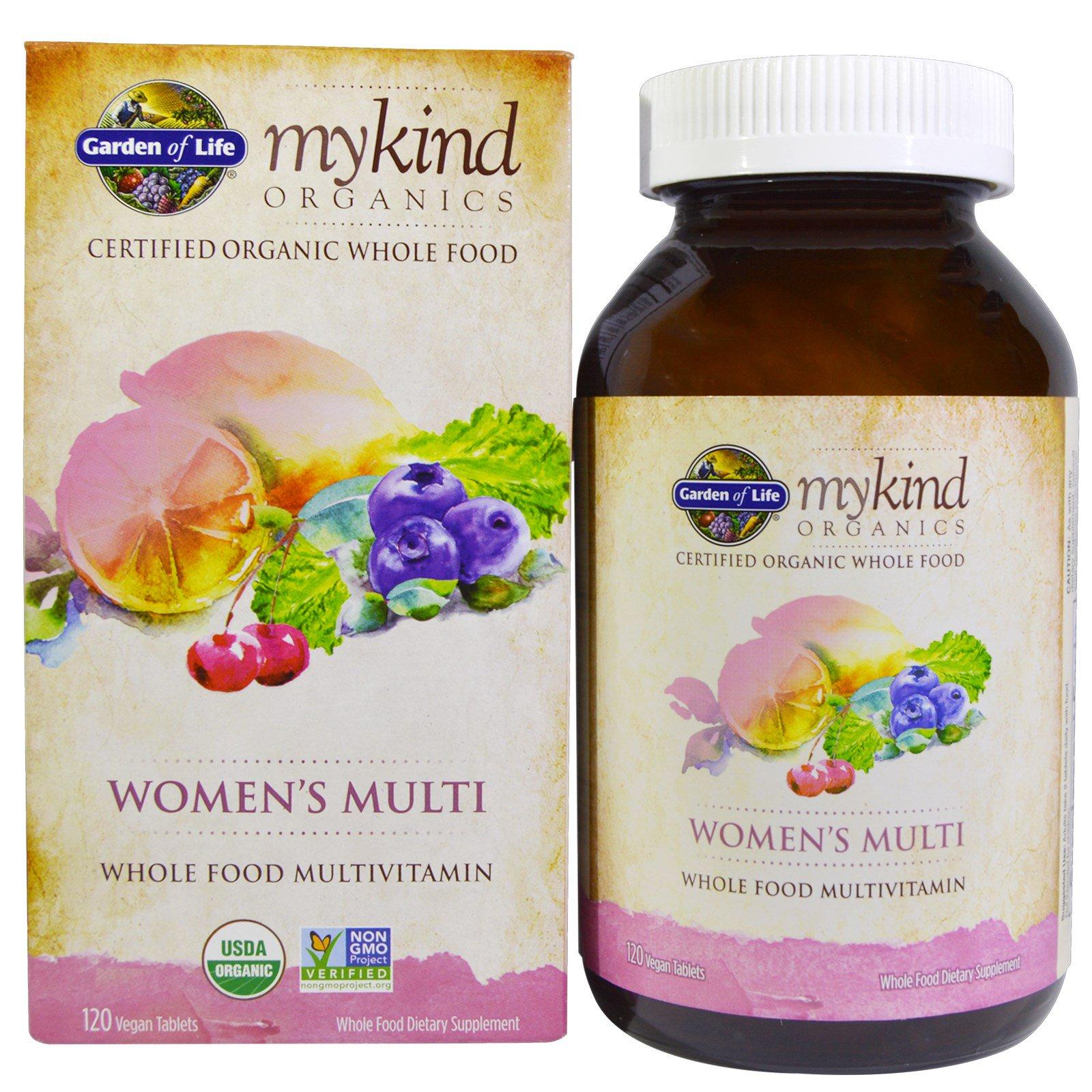Garden of Life, KIND Organics, Мультивитамины для женщин, 120 веганских таблеток