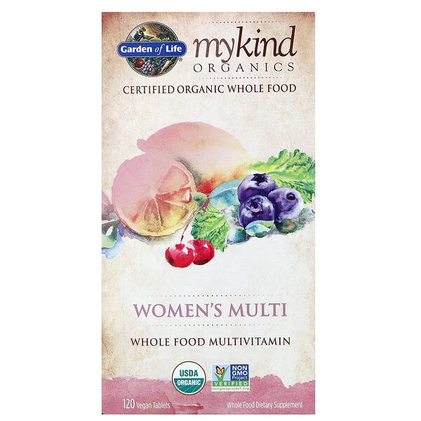 KIND Organics, Мультивитамины для женщин, 120 веганских таблеток