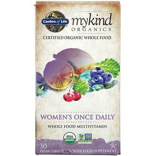 Garden of Life, MyKind Organics, Women's Once Daily Multivitamin, 30 Vegan Tablets