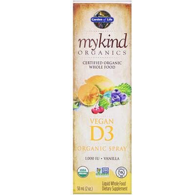 Купить MyKind Organics, Vegan D3 Organic Spray, Vanilla, 1, 000 IU, 2 oz (58 ml)