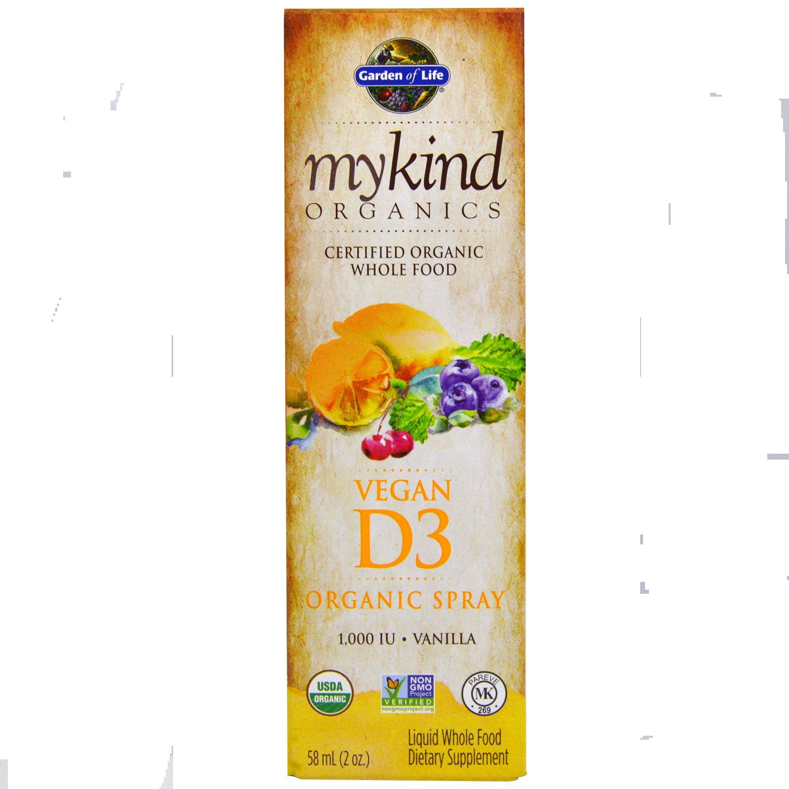 Garden of Life, Kind Organics, Веганский D3, ванильный спрей 60 мл