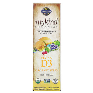 Garden of Life, MyKind Organics, веганский органический спрей с D3, ваниль, 25мкг (1000МЕ), 58мл (2жидк.унции)