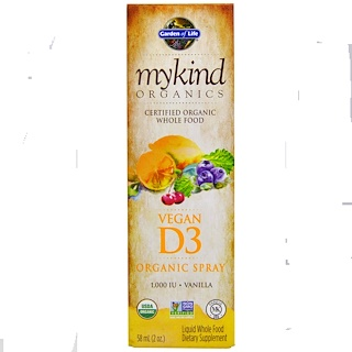 Garden of Life, MyKind Organics, Vegan D3, Vanilla Spray, 1,000 IU, 2 oz (58 ml)