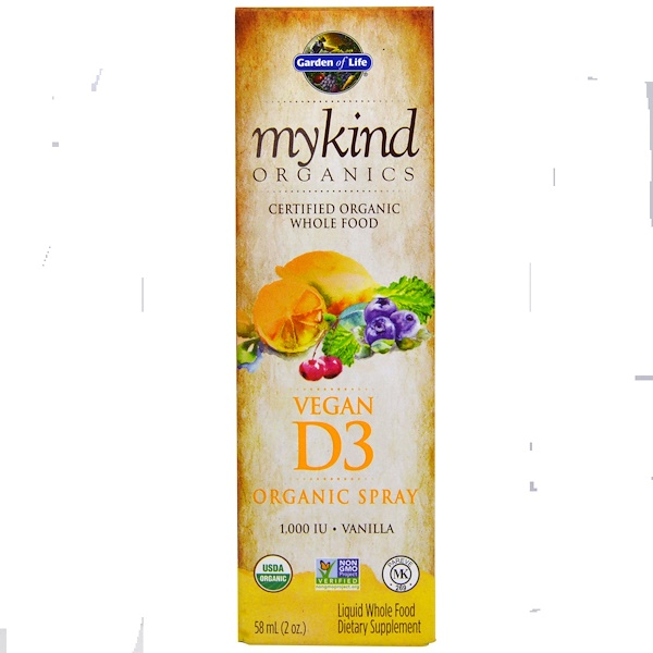 Garden of Life, Kind Organics, Vegan D3, Vanilla Spray, 2 oz (60 ml)