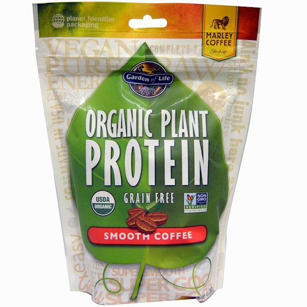 Garden of Life, Organic Plant Protein, Grain Free, Smooth Coffee, 9 oz (260 g)