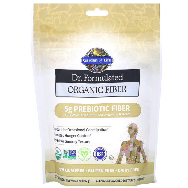 Garden of Life, Dr. Formulated, Organic Fiber, Clear, Unflavored, 6.8 oz (192 g)