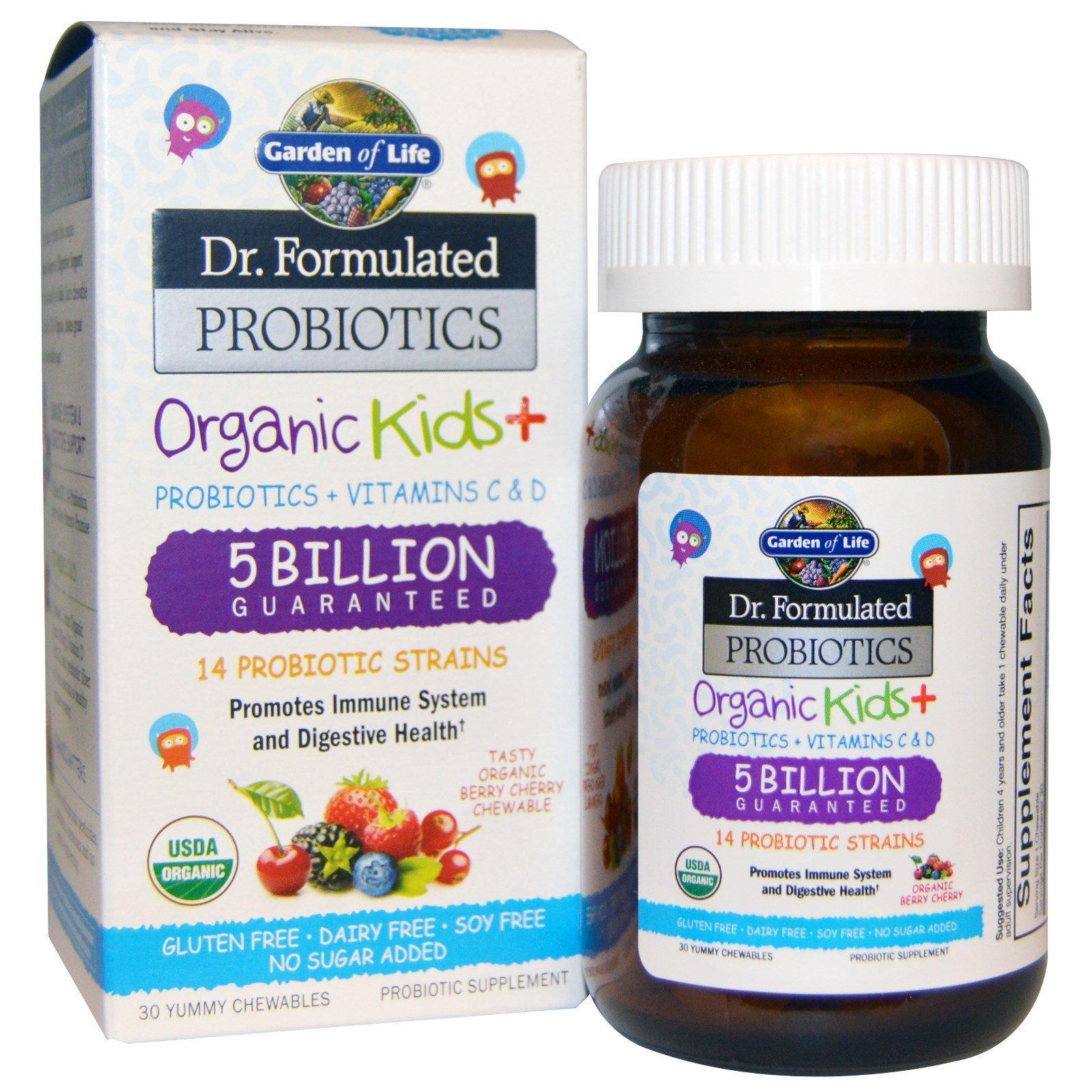 Garden of Life, Пробиотическая добавка Dr. Formulated Probiotics, Organic Kids + 30 вкусных жевательных драже (Ice)