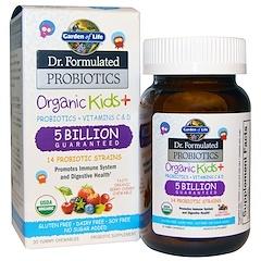 Garden of Life, Dr. Formulated Probiotics, Organic Kids +, 30 Deliciosos Mastigáveis (Ice)