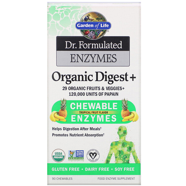 Dr. Formulated Enzymes, Organic Digest +, Tropical Fruit Flavor, 90 Chewables