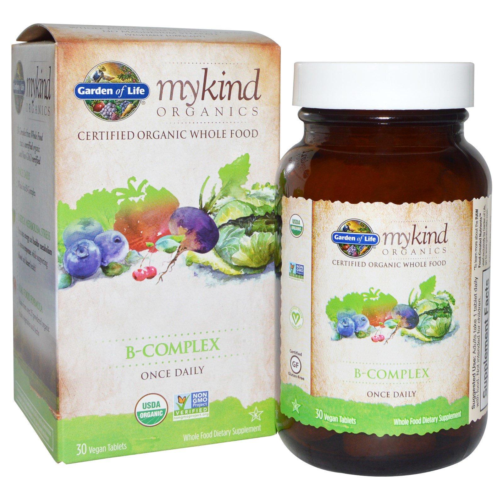 Garden of Life, mykind Organics, B-комплекс, 30 веганских таблеток