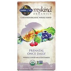 Garden of Life, MyKind Organics,產前複合維生素和礦物質,每日一片,30 片素食片