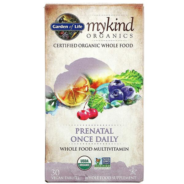 MyKind Organics,产前复合维生素和矿物质,每日一片,30 片素食片