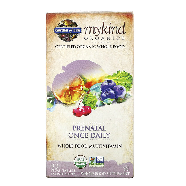 Garden of Life, MyKindOrganics, Suplemento prenatal de ingesta diaria, 90comprimidos veganos