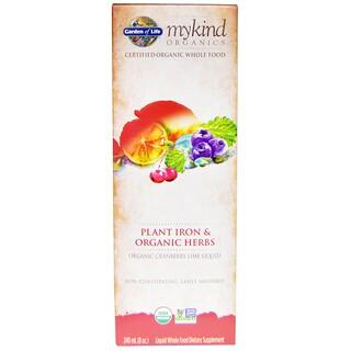 Garden of Life, Mykind Organics, Plant Iron & Organic Herbs, Cranberry-Lime, 8 fl oz (240 ml)