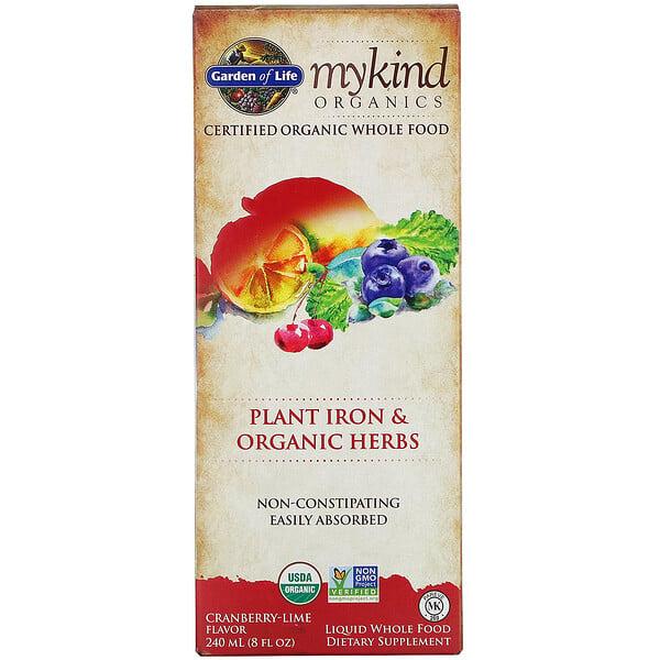 MyKind Organics, Plant Iron & Organic Herbs, Cranberry-Lime, 8 fl oz (240 ml)