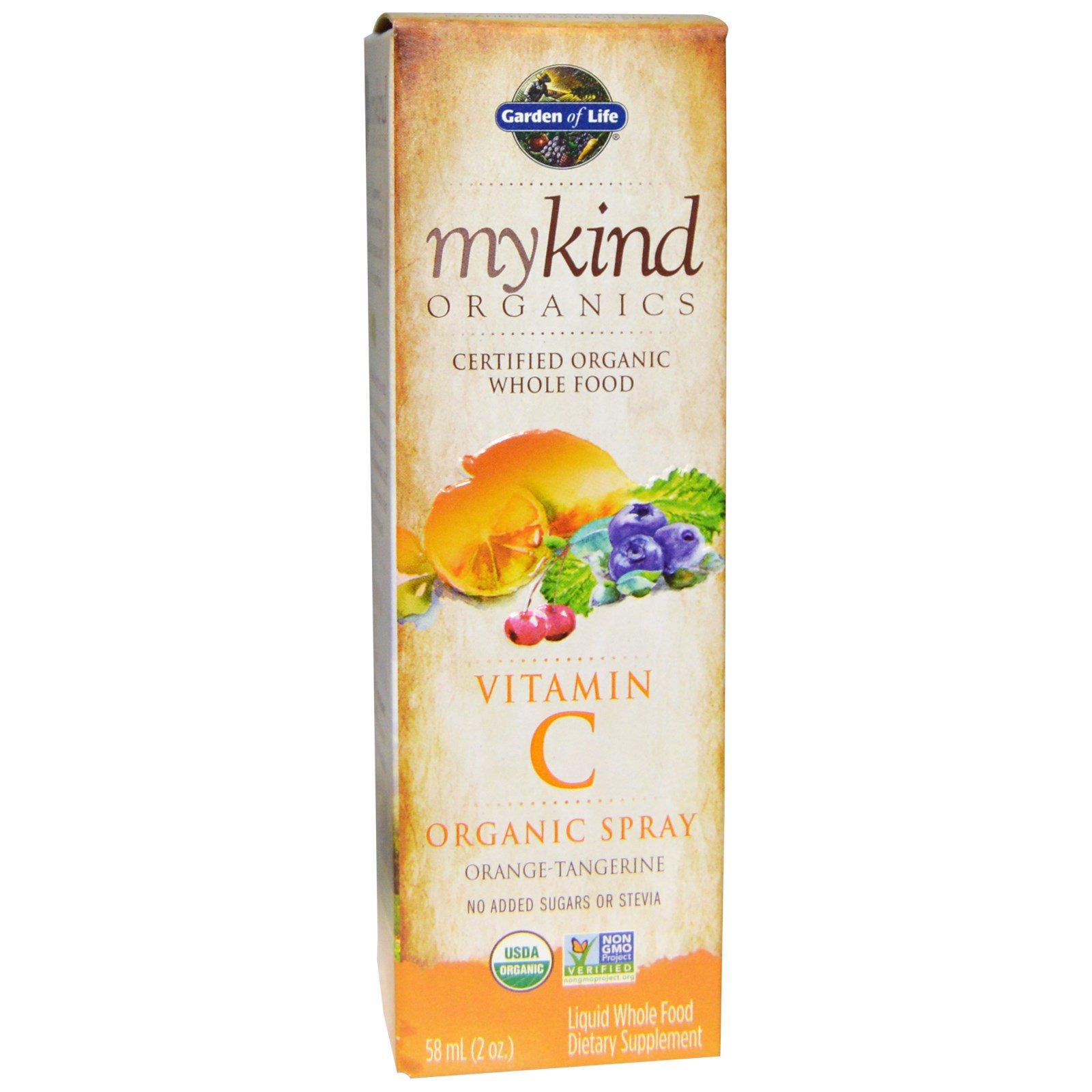 Garden of Life, mykind Organics, витамин C, органический спрей, апельсин-мандарин, 2 жидких унций (58 мл)