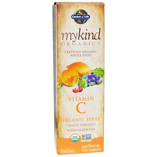 Garden of Life, Mykind Organics, Vitamin C, Organic Spray, Orange-Tangerine, 2 fl oz (58 ml)