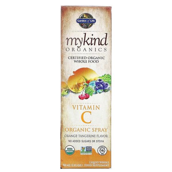 MyKind Organics، بخاخ فيتامين جـ العضوي، البرتقال-اليوسفي، 2 أونصة سائلة (58 مل)