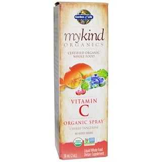 Garden of Life, Mykind Organics, Vitamin C, Organic Spray, Cherry-Tangerine, 2 fl oz (58 ml)