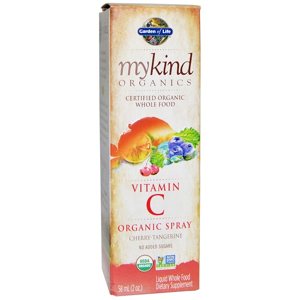 Garden of Life, MyKind Organic, Vitamin C Organic Spray, Cherry-Tangerine, 2 fl oz (58 ml)