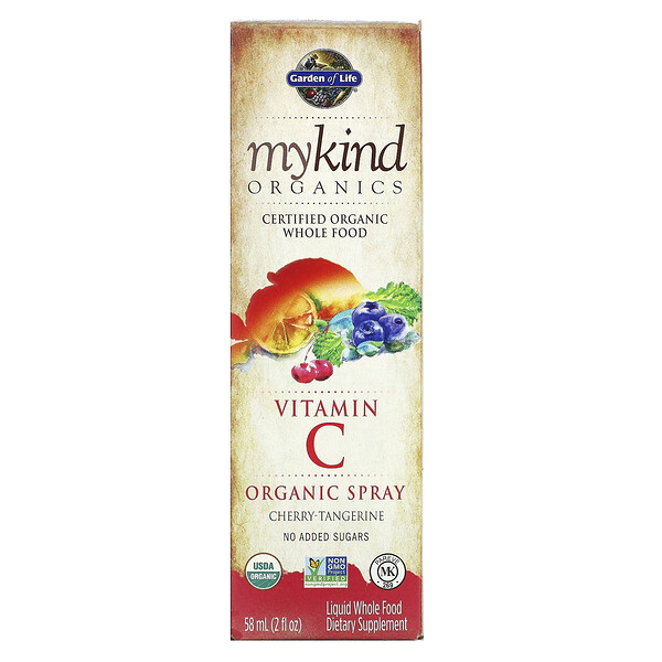 MyKind Organics, Vitamin C Organic Spray, Cherry-Tangerine, 2 fl oz (58 ml)